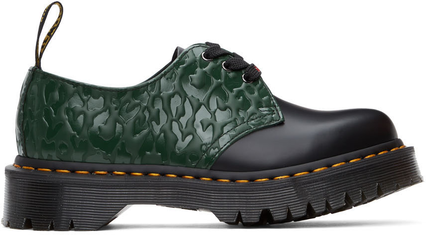 DR. MARTENS Black & Green X-Girl Edition Leopard 1461 Bex Derbys