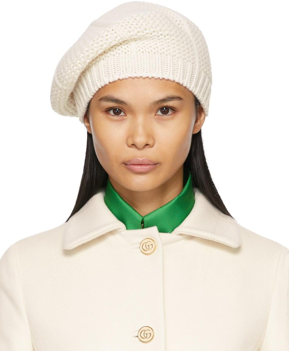 GUCCI White Wool Knit Beret
