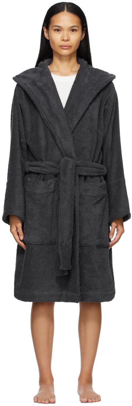 TEKLA Black Hooded Bathrobe