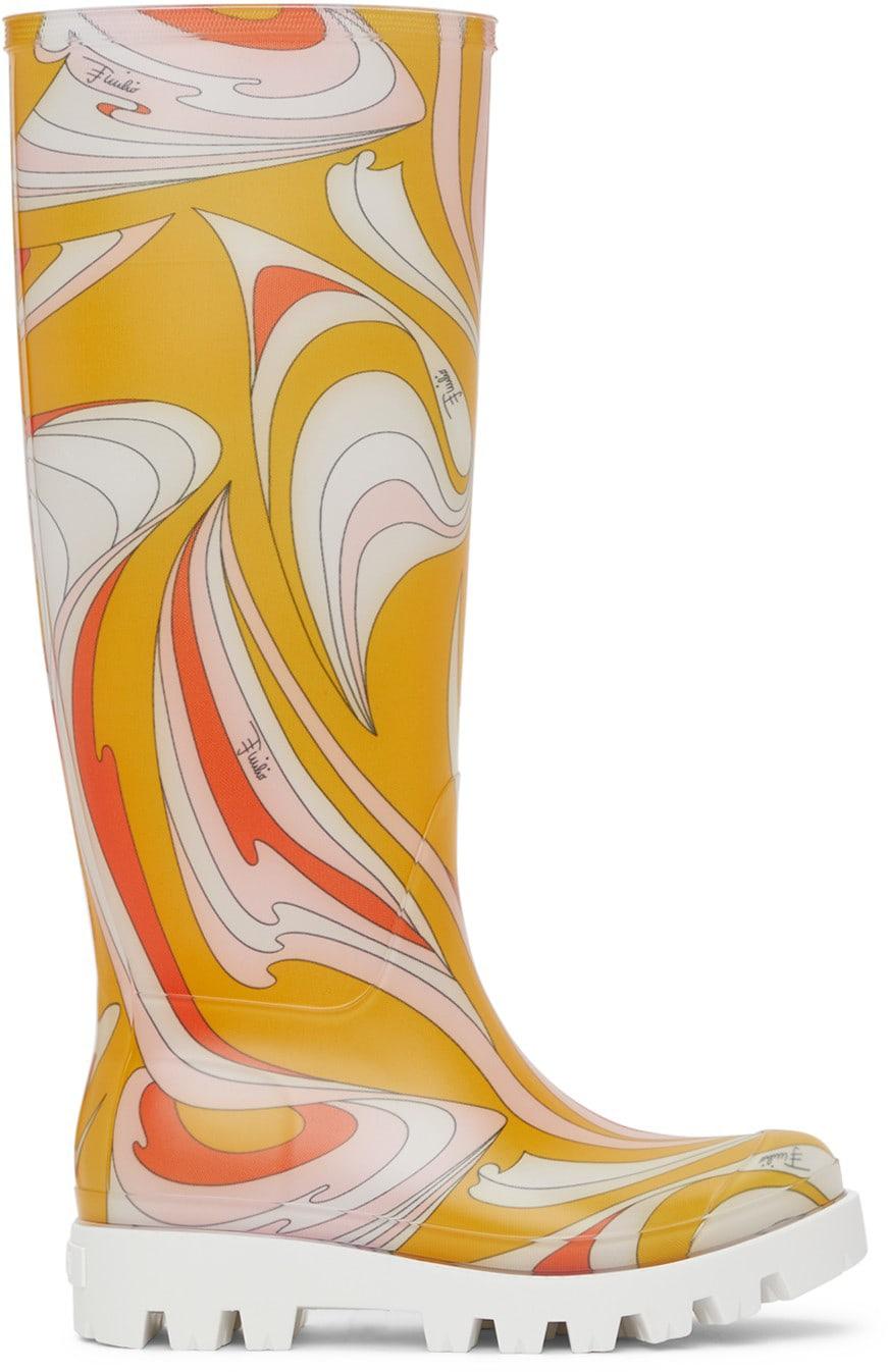 EMILIO PUCCI Multicolor Vortici-Print Rain Boots