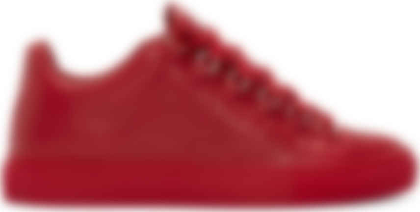 Balenciaga: Red Leather Arena Low-Top