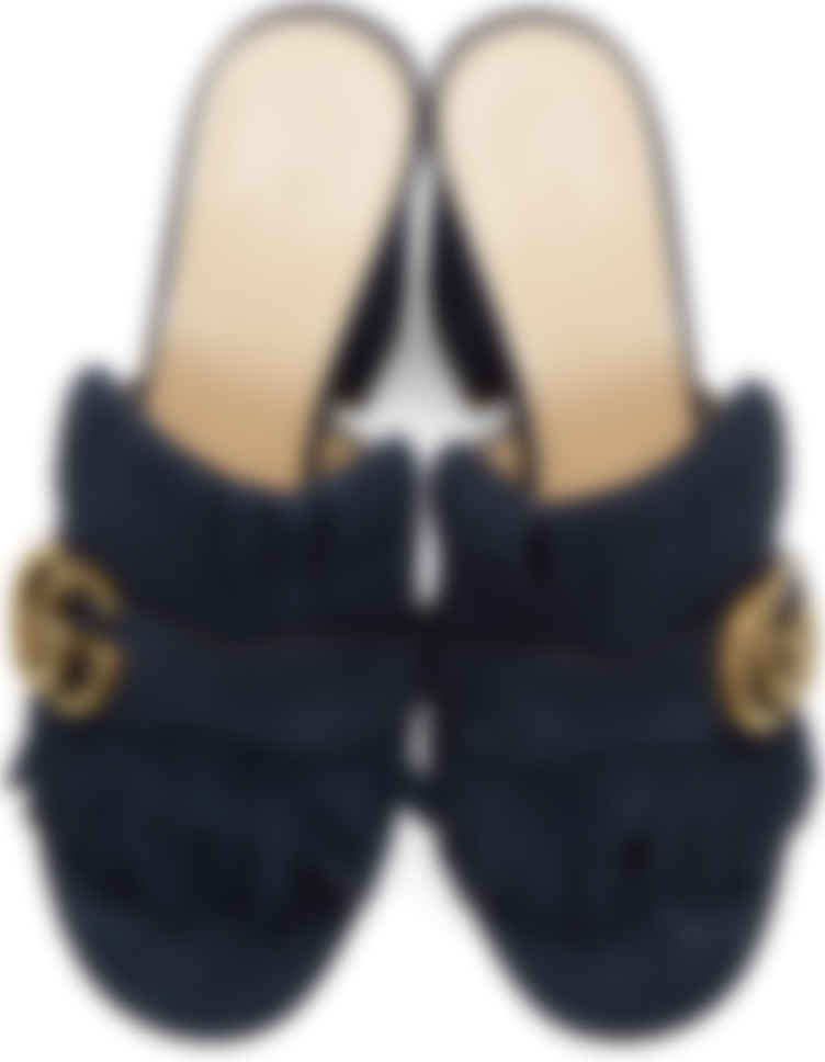 Gucci: Navy Suede GG Marmont Slide