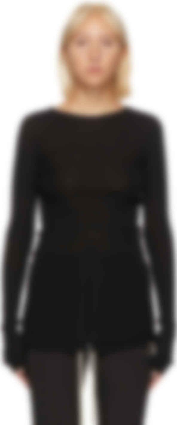 Rick Owens Black Ribbed Merino Sweater Ssense Canada