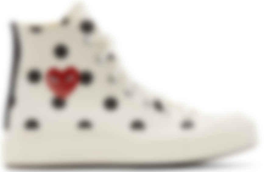 White Converse Edition Polka Dot Heart