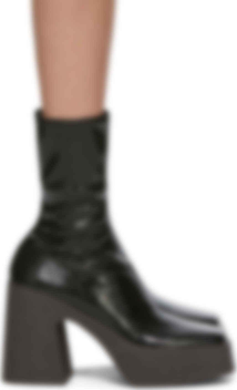 Black Patent Block Heel Boots
