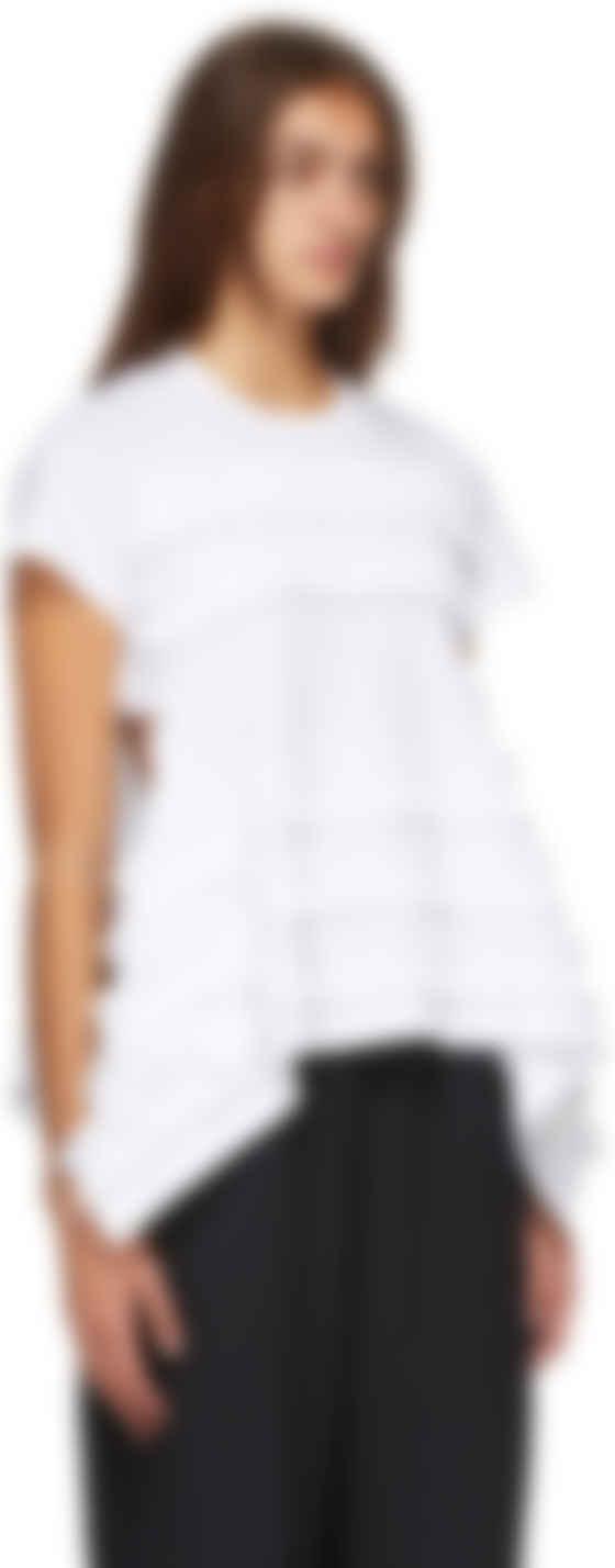 Comme des Gar\u00e7ons ruffled white cotton shirt