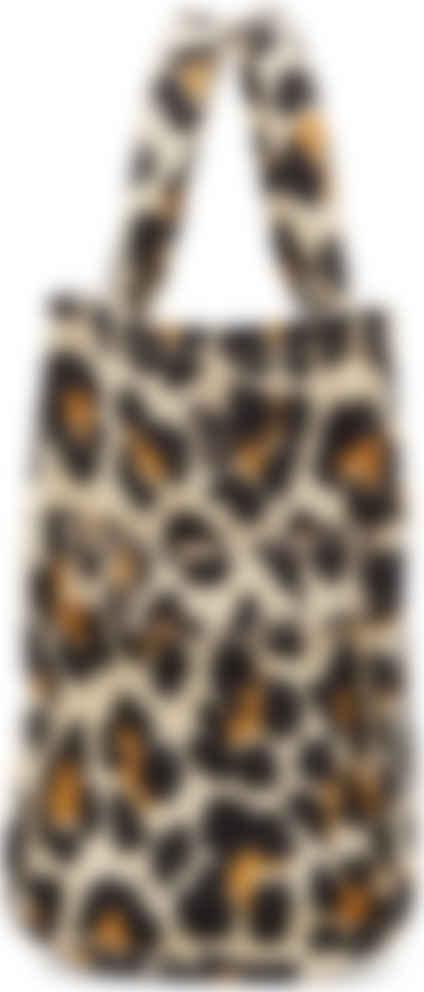 Cabas blanc cassé 'The Leopard Mini Traveler'