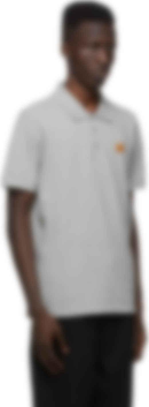 Kenzo Homme Tiger Crest en coton gris clair Polo Shirt