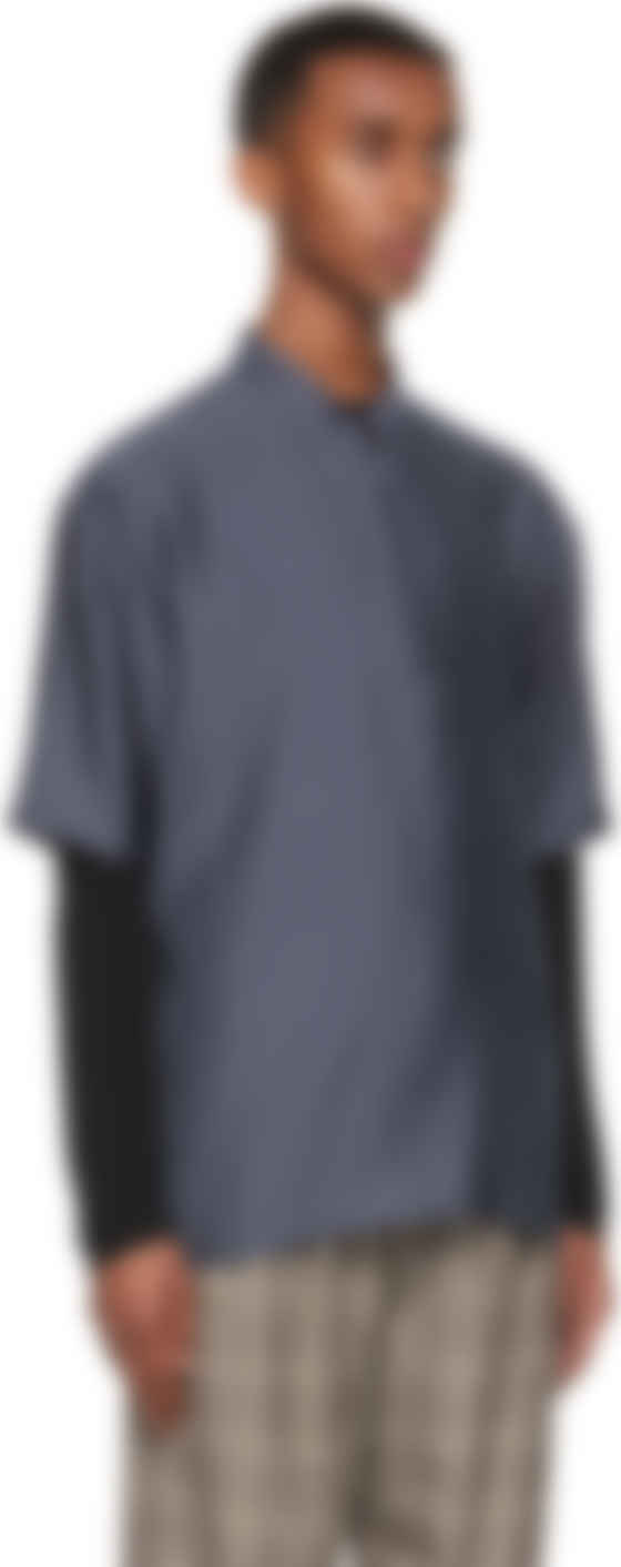 Navy Half-Zip Sport Short Sleeve Shirt