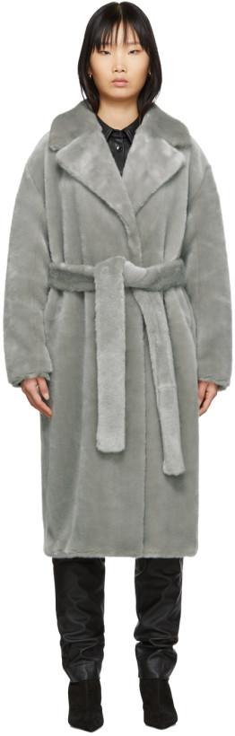 Tibi Grey Faux-Fur Oversized Luxe Coat