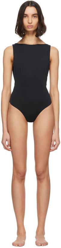 Haight Black Side Slit One-Piece Swimsuit