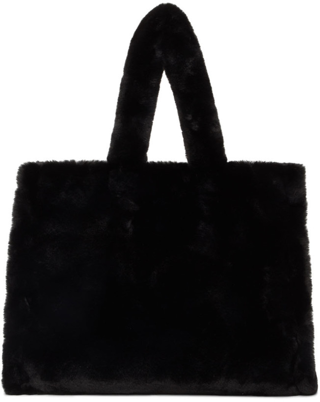 Exact Product: Black Faux-Fur Large Lola Tote, Brand: Stand Studio, Available on: ssense.com, Price: $220
