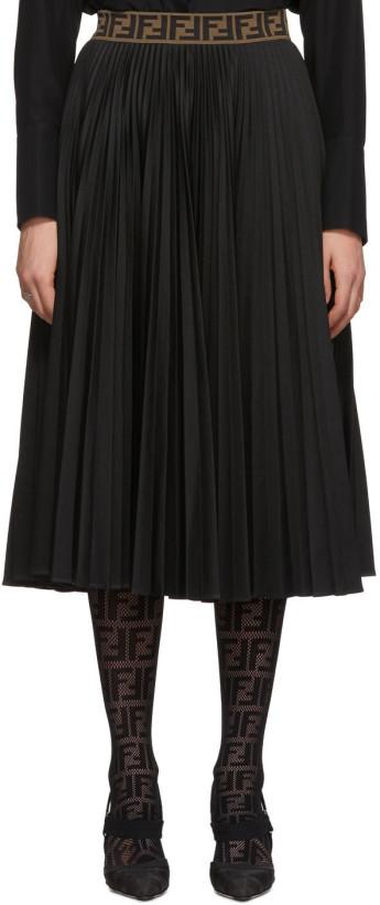 Fendi Black 'Forever Fendi' Pleated Skirt