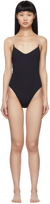 Heron Preston Black Rib Knit One-Piece Swimsuit